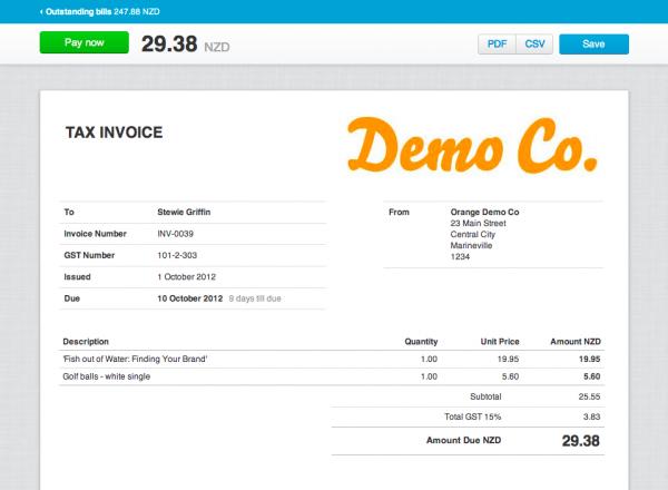 MyWeb | Xero Invoice